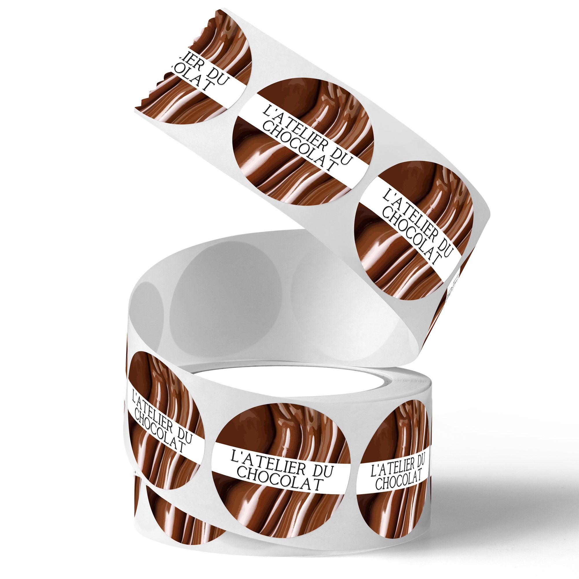 etiquettes pose manuelle chocolat